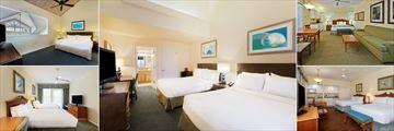 Holiday Inn & Suites Harbourside, (clockwise from top left): King Loft Villa, Islander Two Queen Room, King Studio, Two Queen Studios and Two Queen Suite Sunset View