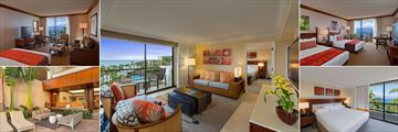 Hyatt Regency Maui Resort & Spa, (clockwise from top left): Oceanfront King Room, Deluxe Ocean Suite, Oceanfront One Queen One Double Room, Oceanfront Suite and Palace Suite