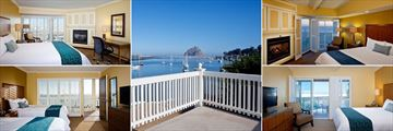 Top Right Clockwise: Full Bay View Room,  Private Balcony Views, Partial Bay Room, Queen Standard Room, Bay View Room, Inn at Morro Bay Hotel