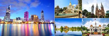 Intercontinental Asiana, (clockwise from left): Sightseeing at Ho Chi Minh City at Night, Buu Long Pagoda, Notre Dame Cathedral, Ho Chi Minh City Hall and Dam Sen Park