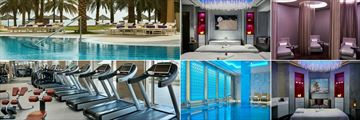 InterContinental - Qatar, (clockwise from top left): Pool and Beach, Spa Couples Treatment Room, Spa Relaxation Room, Spa Treatment Room, Indoor Ladies' Plunge Pool and Fitness Centre