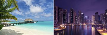 Jetty in the Maldives and Dubai city at night