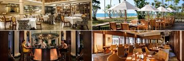 Clockwise from top left: Olive Italian Restaurant, Waterfront International Restaurant, Sakura Japanese Restaurant and Czar Bar at JW Marriott Khao Lak