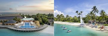 The pool and water sports at JW Marriott Maldives Resort & Spa