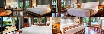 JW Marriott Phuket Resort & Spa, (clockwise from top left): Deluxe Garden View Room, Deluxe Sea View Room, Deluxe Family Terrace Room and One Bedroom Oceanfront Pool Suite