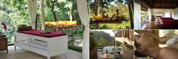 Kamandalu Resort & Spa, Ubud, (clockwise from left): Forest Spa Treatment Beds, Forest Spa Swing, Chaya Spa Treatment Beds, Treatment in the Spa and Private Yoga