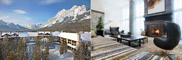 Winter views and the lobby at Kananaskis Mountain Lodge