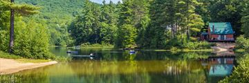 Kayaking on Little Pea Porridge Pond, New Hampshire
