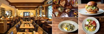 Kimpton Canary Hotel, (clockwise from left): Finch & Fork Restaurant, Shareable Plates, Chicken Burger, Chopped Salad and Egg with Asparagus