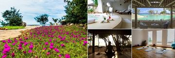Ocean Spa Lodge Grounds, Pool, Pool Area, Yoga Room and Yoga by the Sea at Kinondo Kwetu