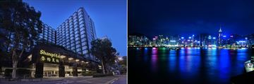 Kowloon Shangri La, Hotel Exterior and Harbour View at Night