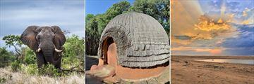 Elephant in Kruger National Park, Traditional Zulu Tribal Hut & iSimangaliso Wetland Park