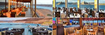 Lake Powell Resort, (clockwise from top left): Anasazi Restaurant, Rainbow Room, Wahweao Grill and Latitude 37 Restaurant
