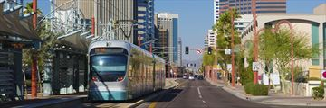 Light rail train, Midtown Phoenix, Arizona
