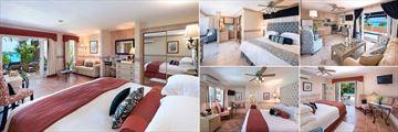 Little Arches Boutique Hotel, (clockwise from left): Luxury Ocean Suite, Ocean Deluxe Room, Luxury Ocean Suite Bedroom and Living Area, Poolside Deluxe Room and Garden Standard Room