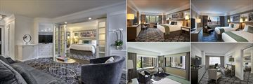 Loews Regency New York, (clockwise from left): Grand Executive Suite, Avenue Room, Luxury Double Room, Executive Suite and Park Avenue Two Bedroom Suite