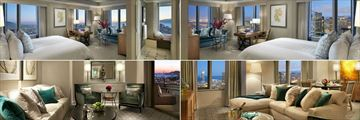 Loews Regency San Francisco, (clockwise from top left): Golden Gate Suite, Junior Suite Golden Gate View, Regency Skyline Terrace Suite and Regency Bayview Terrace Suite