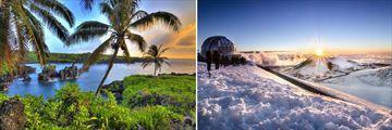 Lush Hawaiian coastline & Mauna Kea Volcano