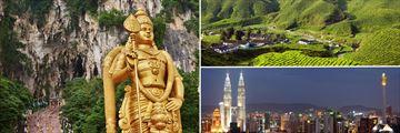 Luxury Malaysia Explorer; Batu Caves, Cameron Highlabnds and Kuala Lumpur Skyline at night