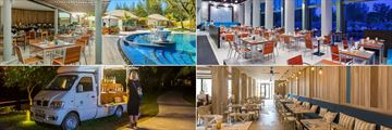Mai Khao Lak Beach Resort & Spa, (clockwise from top left): Green & Grilled Restaurant, The Mangrove Buffet, The Buffet and The Tuk Tuk Bar