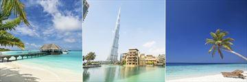 Maldives beach landscapes & Dubai's Burj Khalifa