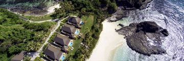 Matamanoa Island Resort, Aerial View of Bures and Beach