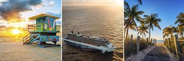 Miami Beach, Celebrity Cruise Ship & Palm-lined passage in the Florida Keys