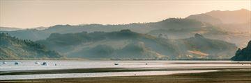 Misty hills surrounding Mercury Bay, Coromandel Peninsula