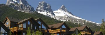 Mountain condos in Canmore, with Three Sisters in the background