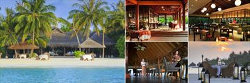 Naladhu Private Island, (clockwise from left): The Living Room Restaurant Exterior, The Living Room Restaurant, Origami Restaurant, Intimate Dining on Beach and Baan Huraa Restaurant