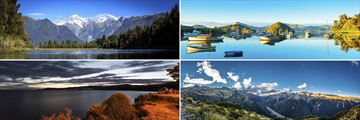 Clockwise from top left: Franz Josef, Dunedin, Arthur's Pass and Lake Taupo