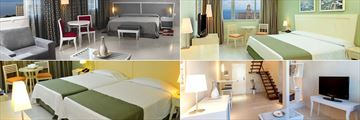 NH Capri, (clockwise from top left): Junior Suite, Standard Sea View Room, Duplex Room and Standard Room