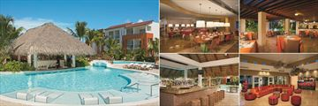 Now Garden Punta Cana, (clockwise from left): Manatees Swim-Up Bar, Capers, La Trattoria, Time Out Lobby Bar and Sugar Reef Pool Bar