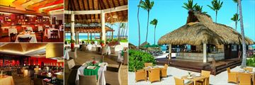 Now Larimar Punta Cana, (clockwise from top left): Blue Water Grill, Castaways, Barefoot Grill and Spice Restaurant