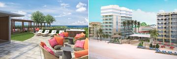 Left image of outdoor chairs with pink and orange cushions. Right image a beach with a hotel and loungers
