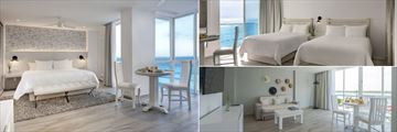 Oleo Cancun Playa Boutique Resort, (clockwise from left): Inspira Junior Suite Ocean View, Inspira Superior Ocean View with Two Queen Beds and Inspira Junior Suite Sunset