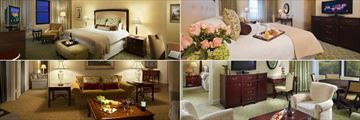 Omni Shoreham, (clockwise from top left): Deluxe Room, Premier View Room, One Bedroom Suite and Presidential Suite