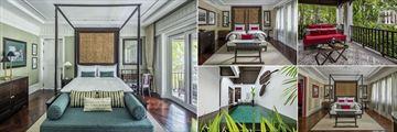 137 Pillars House, (clockwise from left): Rajah Brooke Suite, East Borneo Suite Bedroom & Balcony, Louis Leonowens Pool Suite Bedroom & Pool