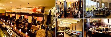 One&Only Cape Town, (clockwise from left): Reubens Restaurent, Nobu Restaurant, Vista's Bar and Lounge, Reubens Tasting Table and Nobu Bar
