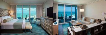 Opal Sands Resort, One Bedroom Suite Bedroom and Living Area