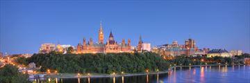 Ottawa City Skyline & River in the Evening