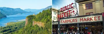 Columbia River Gorge in Oregon, and Pike Place in Seattle