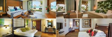 Paradis Beachcomber Golf Resort & Spa, (clockwise from top left): Ocean Beachfront Suite, Paradis Villa, Presidential Villa and Senior Suite