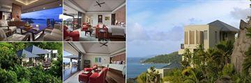 Raffles Seychelles, (clockwise from top left): Villa Living Room, Villa Master Bedroom, Villa Exterior, Partial Ocean View Pool Villa - Twin and Garden View Pool Villa Exterior