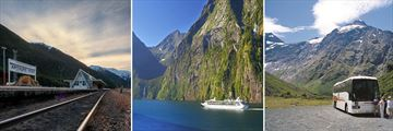 Stunning New Zealand Scenery by Train, Cruise and Coach