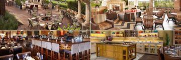 Rancho Bernardo Inn Golf Resort & Spa, (clockwise from top left): Veranda Fireside Lounge Restaurant, Avant Patio, Avant Kitchen and Avant Bar