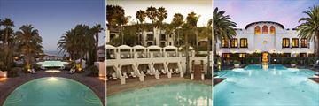 The Main Pool (left), Pool Bar (middle) and Spa Pool (right) at The Ritz-Carlton Bacara, Santa Barbara