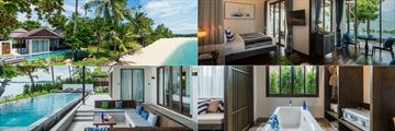 (Clockwise from top left): Two Bedroom Beachfront Pool Villa, Premier Bungalow, Bungalow bathroom, and Two Bedroom Presidential Beachfront Pool Villa