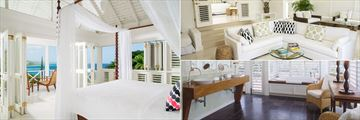 Round Hill Hotel and Villas, Grand Pineapple Villa Suite Bedroom, Living Room and Bathroom