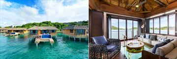 An exterior view of the Chairman Overwater Bungalows and an interior view of the bungalow's living room with a clear floor. At Royalton Antigua